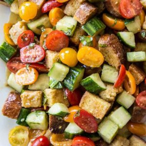 close up Summer Panzanella Salad