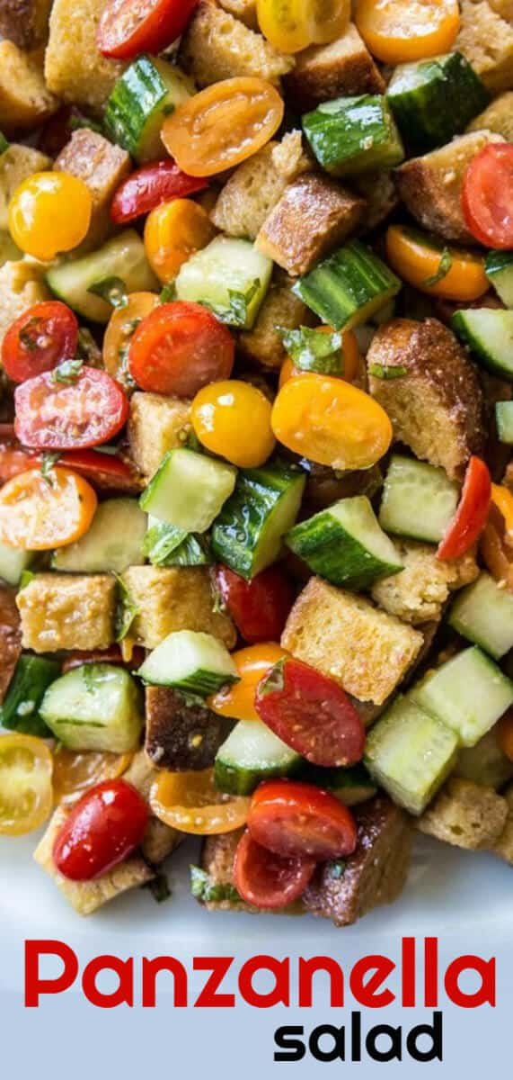 Summer Tomatoes Panzanella Salad. This rustic Italian bread salad is a perfect dish to load up with vegetables. #salad #tomatoes #cucumbers #italian