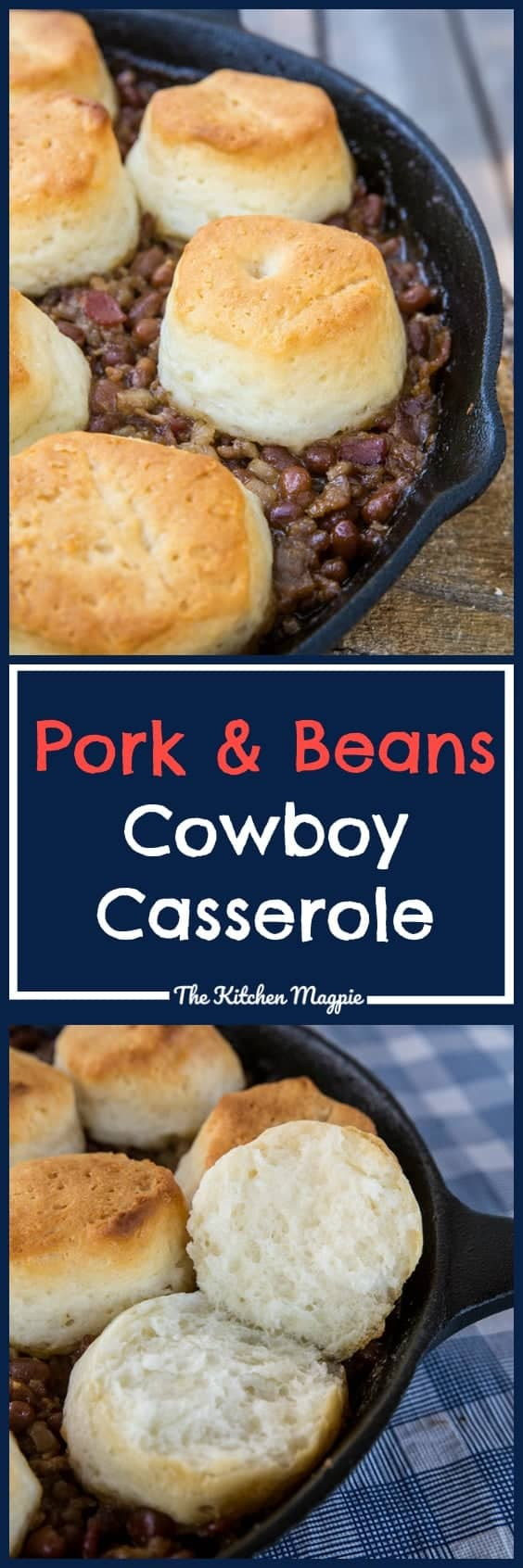 This delicious Pork & Beans Cowboy Casserole is bound to be a new family favourite for camping OR at home! Beans, bacon & biscuits = cowboy perfection! #camping #cowboy #porkandbeans #campfire