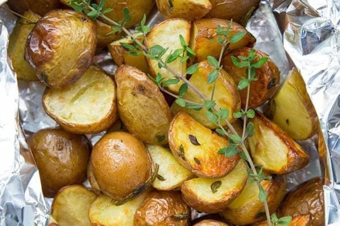Rosemary & Thyme Potatoes in Foil Packets