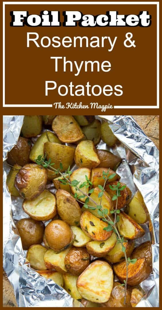 These Rosemary & Thyme Potatoes in Foil Packets were an accidental recipe that happened when we were at the lake! I had extra potatoes leftover from my Shrimp & Potatoes in Foil and knew my son wouldn't touch anything with shrimp in it. I threw these together and voila! A delicious new camping recipe was born! #camping #potatoes