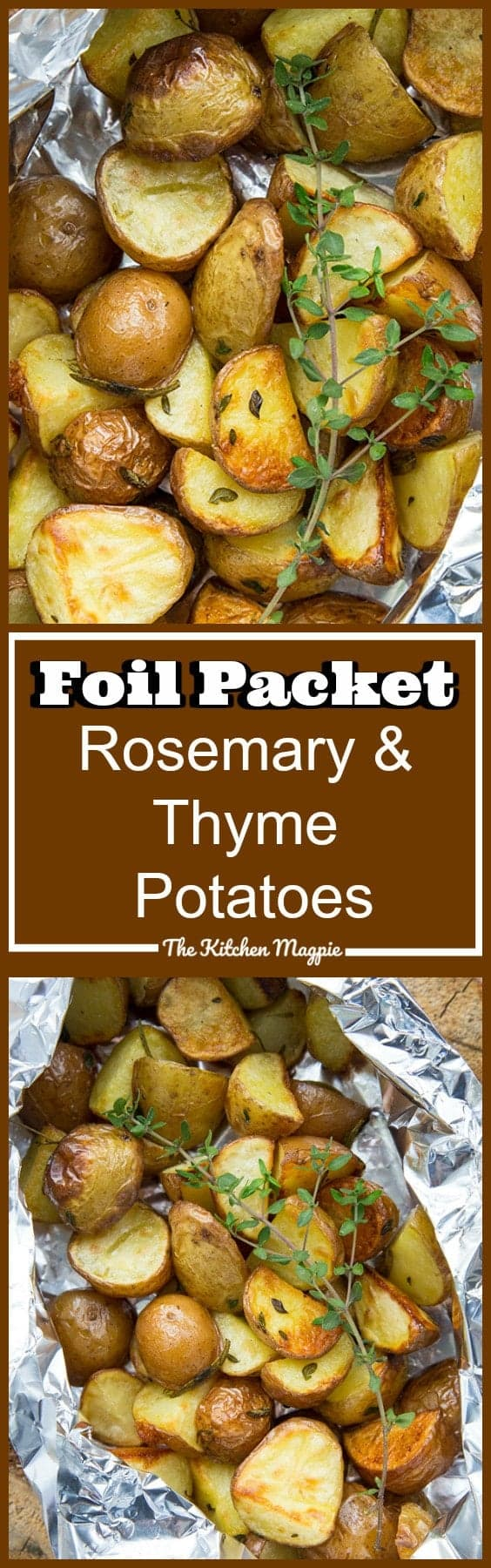 These Rosemary & Thyme Potatoes in Foil Packets were an accidental recipe that happened when we were at the lake! I had extra potatoes leftover from my Shrimp & Potatoes in Foil and knew my son wouldn't touch anything with shrimp in it. I threw these together and voila! A delicious new camping recipe was born!