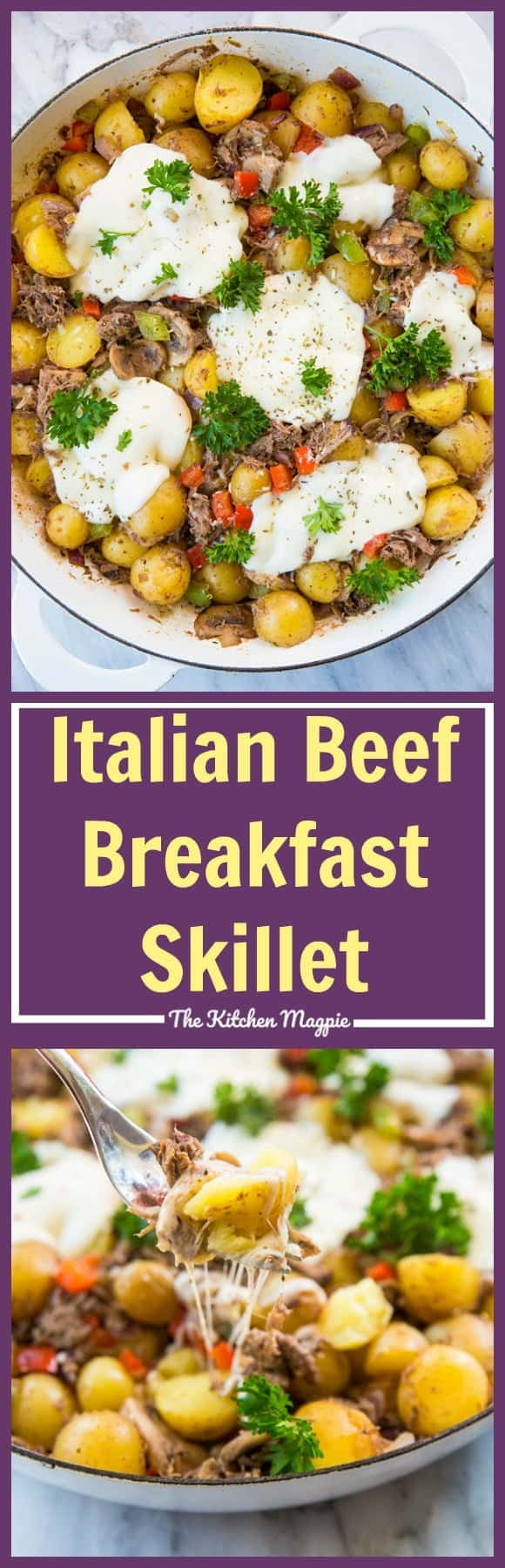 Looking to use up leftover roast beef? This Cheesy Italian Beef Breakfast Skillet is just the ticket! Recipe from @kitchenmagpie. #beef #recipe #breakfast #brunch