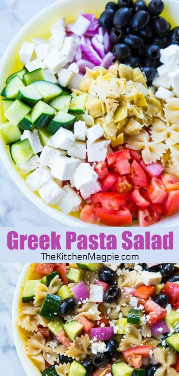 Fast & Easy Greek Pasta Salad, loaded with olives, cucumber and even artichoke hearts! ( which make it the BEST ever!) #Salads #pasta #GreekSalad
