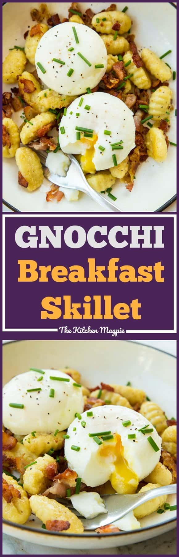 Gnocchi for breakfast? Why not? This Gnocchi Breakfast Skillet is perfect for leftover gnocchi - make sure to make extra gnocchi the night before so you can make this for breakfast the next day!! From @kitchenmagpie #recipe #breakfast #eggs #bacon