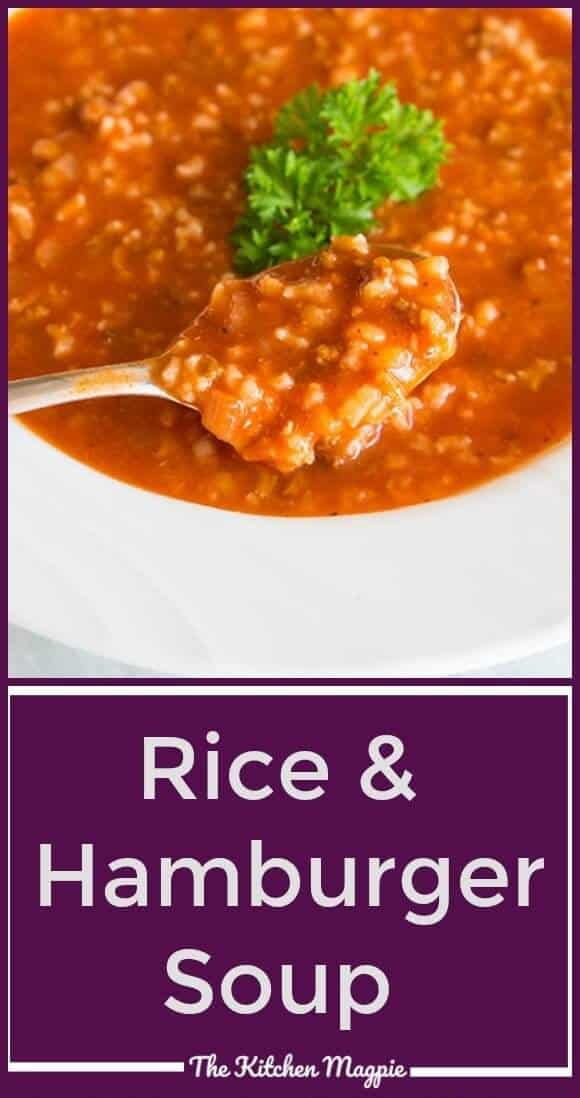This Simple Tomato & Rice Hamburger Soup maybe be almost too easy to make, but you can't tell from the fabulous flavour! It also happens to be totally gluten free, as long as you check all of your sauces! #recipe #soup #hamburger