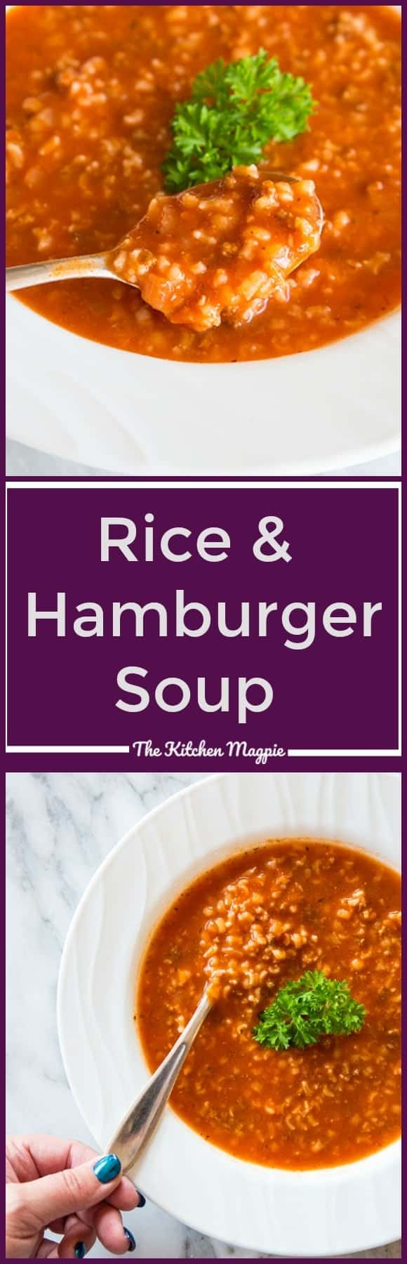 This Simple Tomato & Rice Hamburger Soup maybe be almost too easy to make, but you can't tell from the fabulous flavour! It also happens to be totally gluten free, as long as you check all of your sauces! Recipe from @kitchenmagpie. #recipe #soup #hamburger