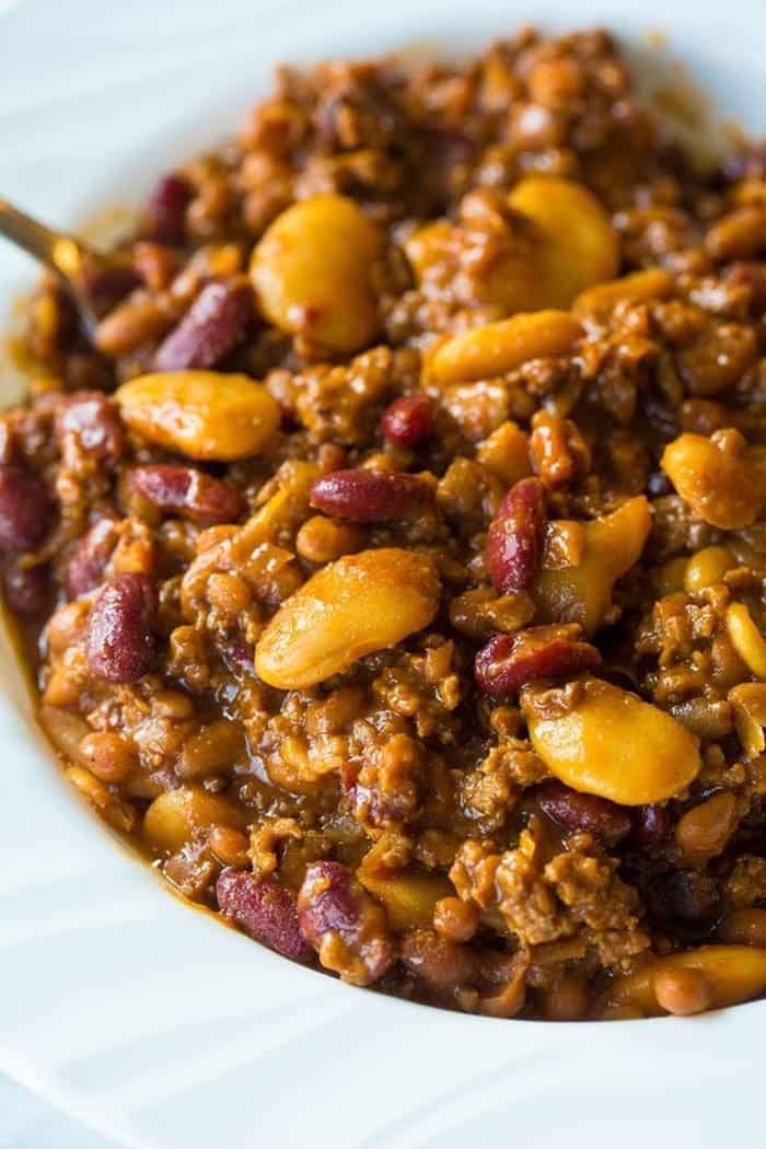 Slow Cooker Calico Beans Recipe, just like Mom used to make! Perfect for those chilly nights!Recipe from @kitchenmagpie. #crockpot #slowcooker #recipe #beans
