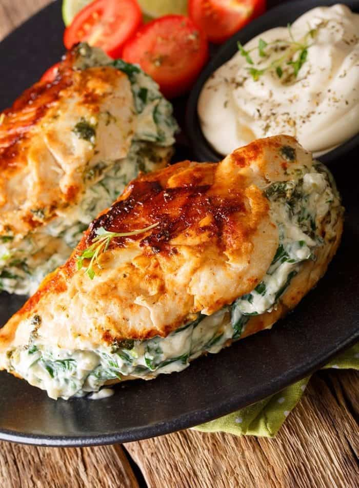 chicken with spinach and cheese