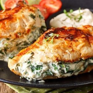 Pan Fried Spinach Amp Cream Cheese Stuffed Chicken Breasts Recipe The Kitchen Magpie