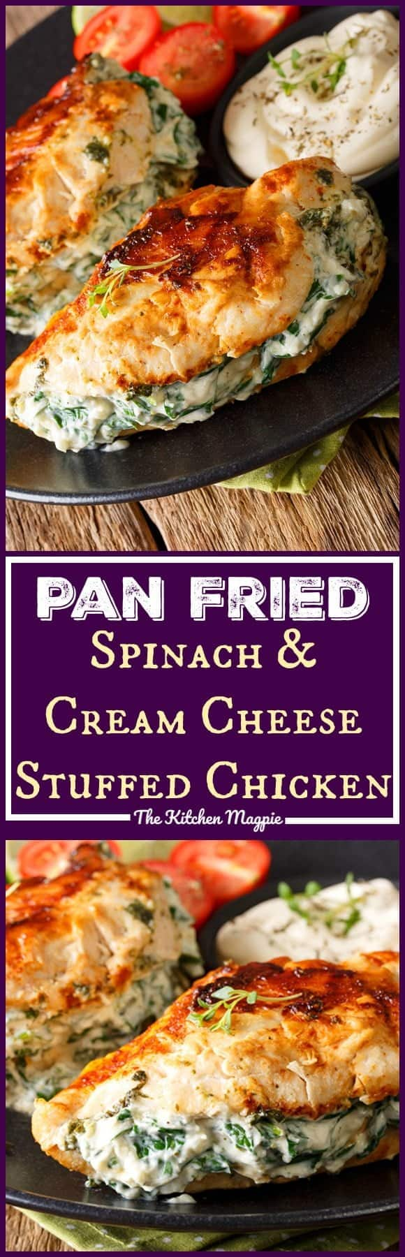 Pan Fried Spinach & Cream Cheese Stuffed Chicken Breasts. This healthy chicken dish is fast and simple to prepare! Use low-fat cream cheese and Parmesan and you have a healthy dinner full of protein and veggies! Recipe from @kitchenmagpie #recipe #chicken #creamcheese #dinner #supper