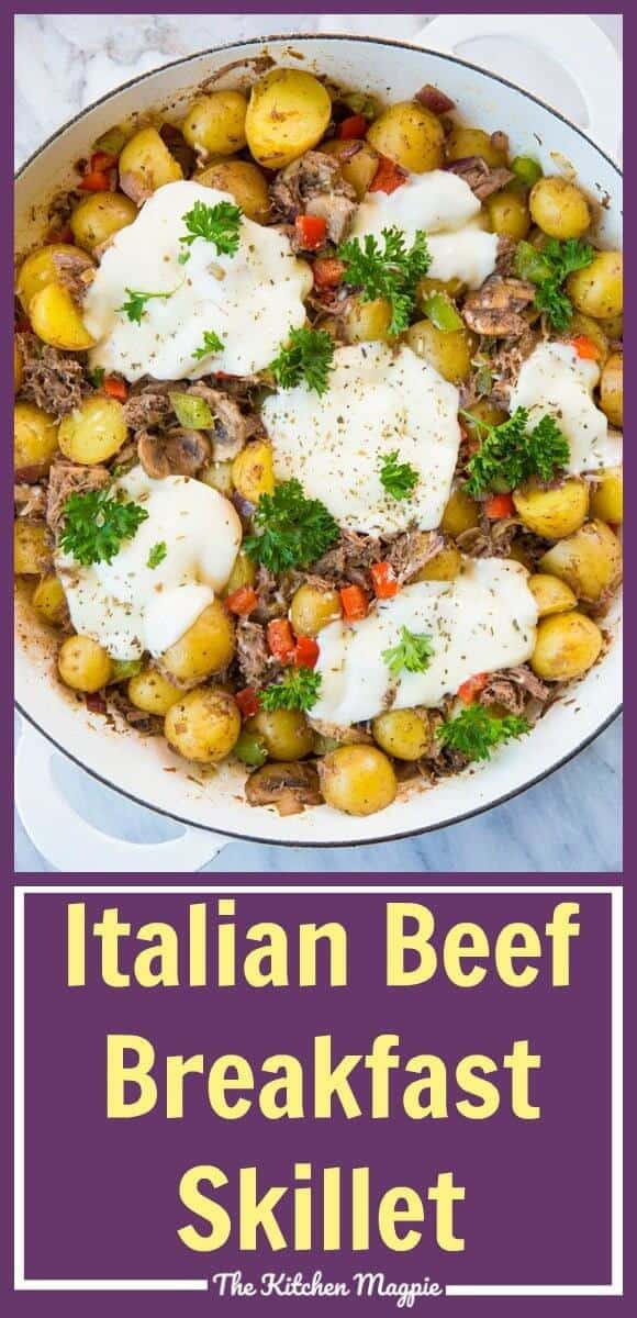 Looking to use up leftover roast beef? This Cheesy Italian Beef Breakfast Skillet is just the ticket!  #beef  #breakfast #brunch