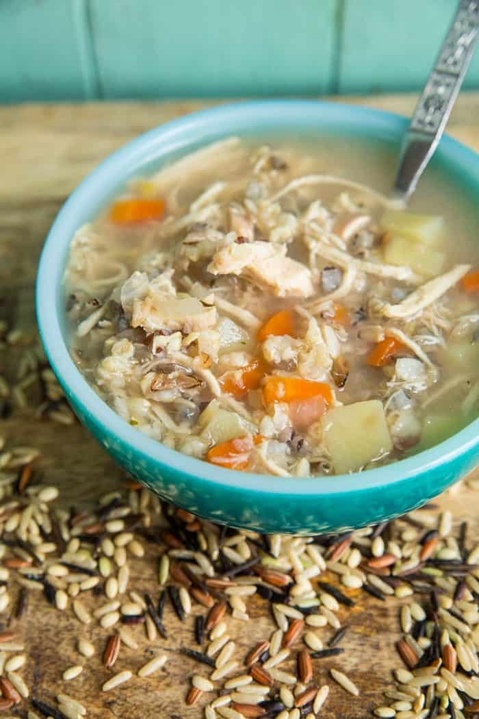 This Instant Pot/ Slow Cooker Chicken & Wild Rice Soup recipe has no dairy at all in it, which is a nice change of pace for when you need a lighter meal! Recipe from @kitchenmagpie