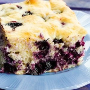 close up of Lemon Blueberry Overnight Breakfast Cake