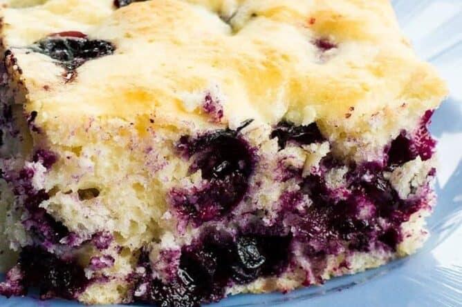 close up of Lemon Blueberry Overnight Breakfast Cake