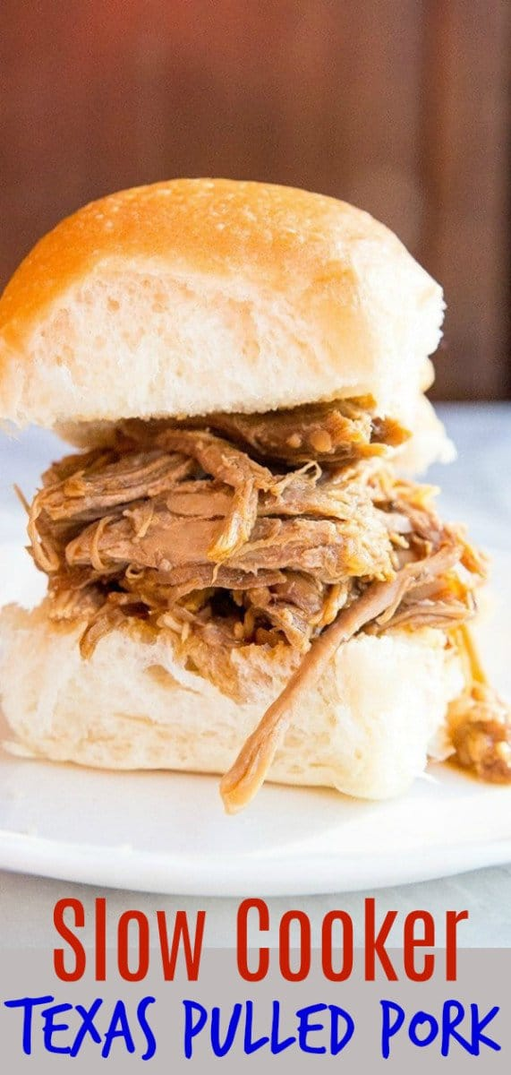This slow cooker Texas pulled pork was a hit, the whole family devoured it! Set it and forget it in your slow cooker & come home to a hot meal! #pulledpork #slowcooker #pork