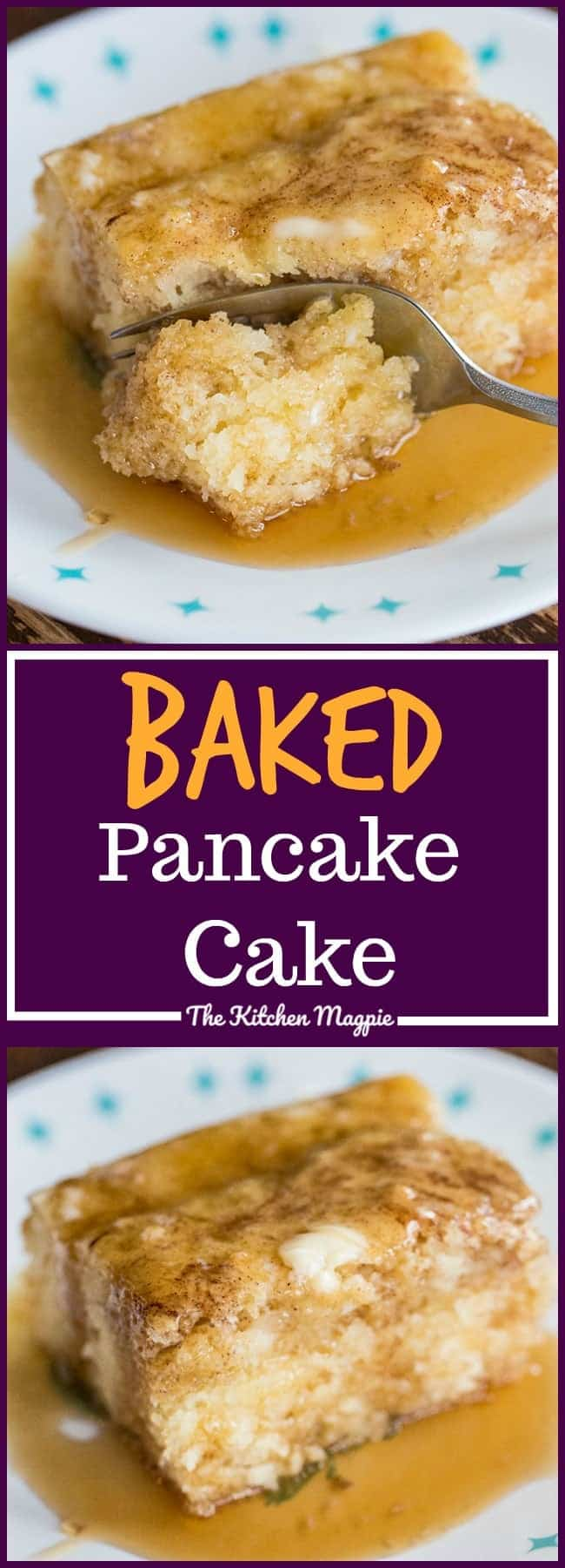 If you're looking to spruce up your breakfast game, this Baked Cinnamon Pancake Cake is sure to do the trick! Bake it in a pan and call it breakfast! Recipe from @kitchenmagpie #breakfast #pancakes #recipe #family #kids #syrup #brunch