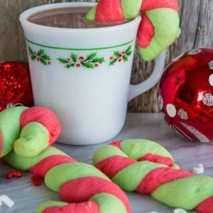 close up Classic Christmas Candy Cane Cookies in glorious red and green stripes!