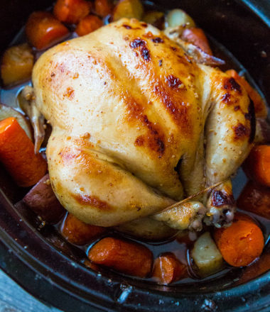 Crockpot Honey Garlic Whole Chicken & Vegetables Recipe & Video