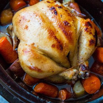Crockpot Honey Garlic Whole Chicken & Vegetables Recipe & Video