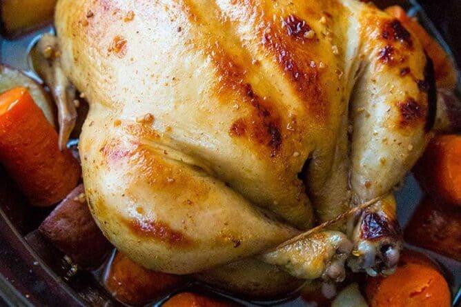 Crockpot Honey Garlic Whole Chicken & Vegetables!