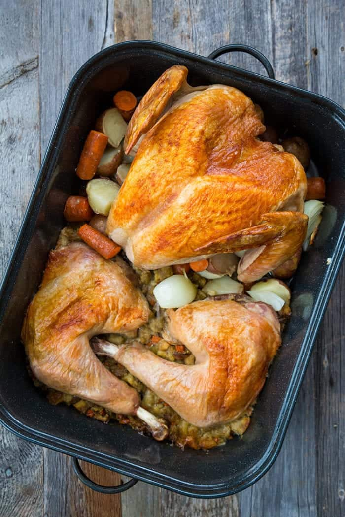 Deconstructed Turkey and Stuffing with Vegetables in ONE Roaster!This recipe is going to totally change how you roast your holiday turkeys, no word of a lie! Recipe from @kitchenmagpie #Christmas #turkey #recipe #holidays #dinner #supper #stuffing #dressing