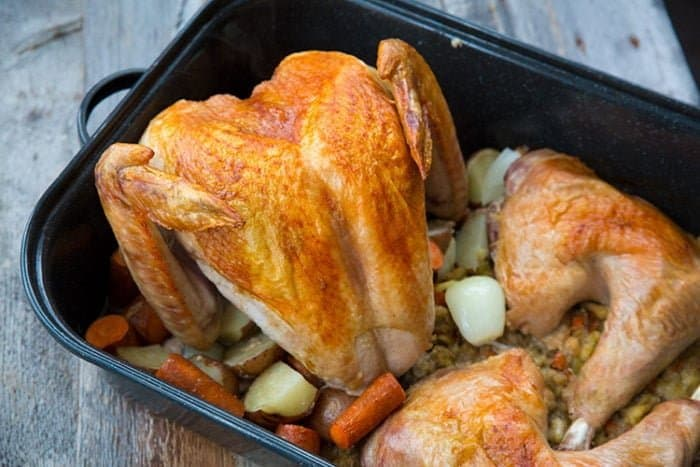 Deconstructed Turkey and Stuffing with Vegetables in ONE Roaster! This recipe is going to totally change how you roast your holiday turkeys, no word of a lie! Recipe from @kitchenmagpie #Christmas #turkey #recipe #holidays #dinner #supper #stuffing #dressing