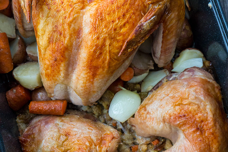 Deconstructed Turkey and Stuffing With Vegetables in ONE Roaster!