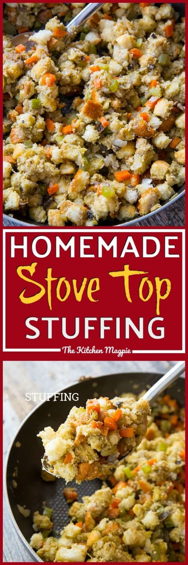 Homemade stove top stuffing, one of my favorite things to eat during the holidays! This is the best recipe I have found yet! Recipe from @kitchenmagpie. #stuffing #dressing #recipes #food #christmas #turkey #meals #holidays #thanksgiving