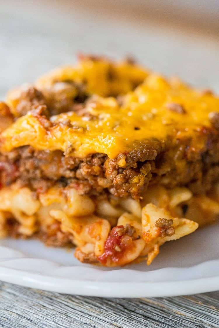 cheesy and beefy Johnny Marzetti Casserole in a white plate