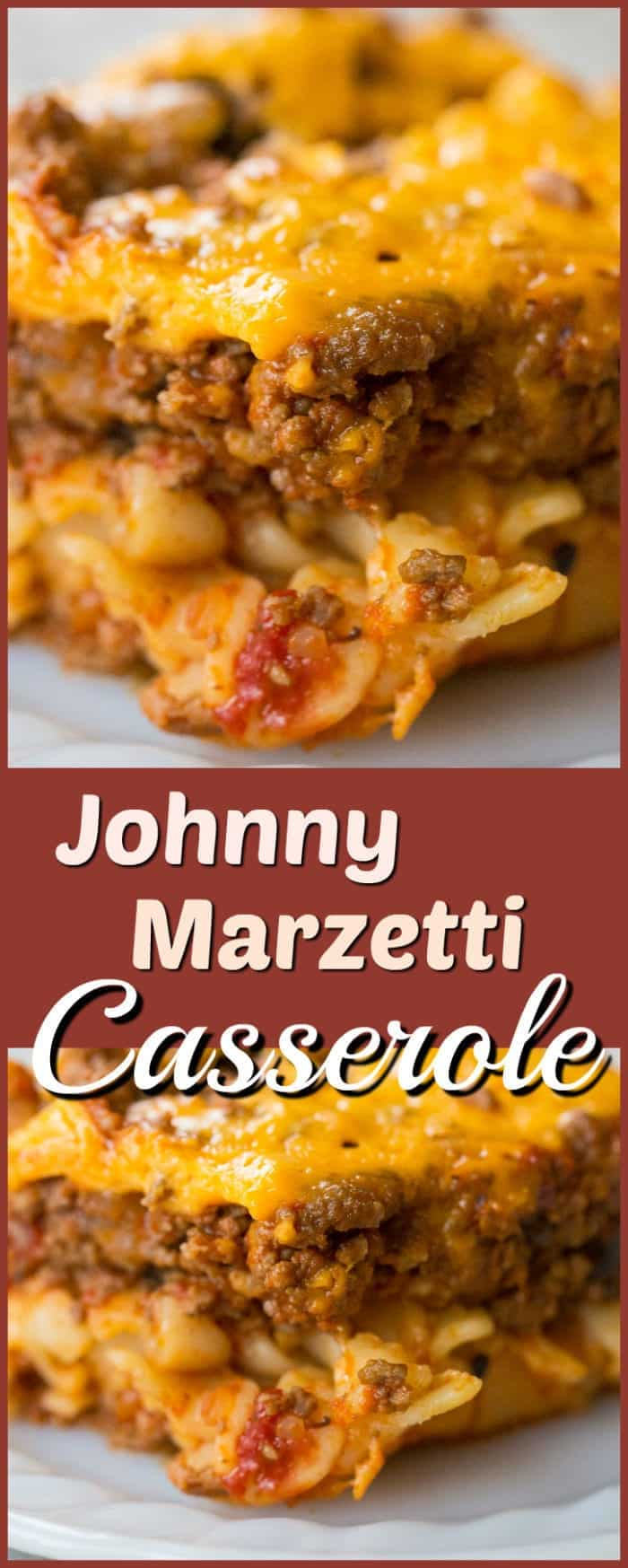 Johnny Marzetti Casserole (a delicious ground beef recipe) is a classic Midwest dish that is the perfect comfort food! Recipe from @kitchenmagpie. #recipe #casserole #beef #noodles #cheese #baked #dinner #supper #family #meals