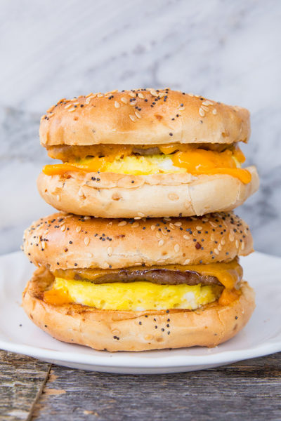 Make-Ahead Sausage & Egg Breakfast Bagels