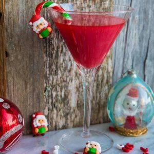 Santa Baby Cocktail with Santa and candy cane decoration