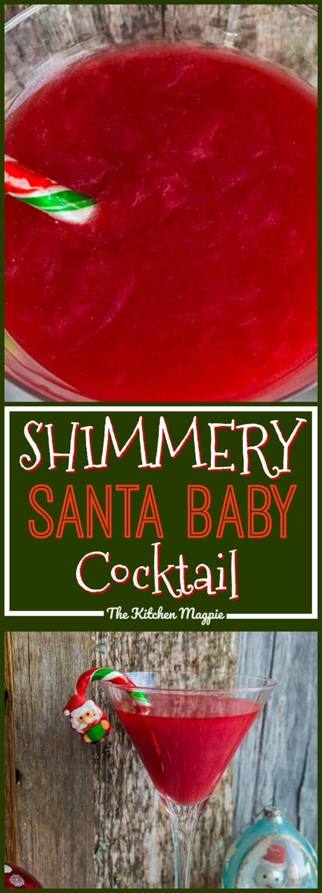 What's red, sparkly & tastes like strawberries? My new Shimmery Santa Baby Cocktail! This is THE cocktail for Christmas! Only 4 ingredients! Recipe from @kitchenmagpie #cocktail #christmas #boozy #drinks #party #recipe #strawberry