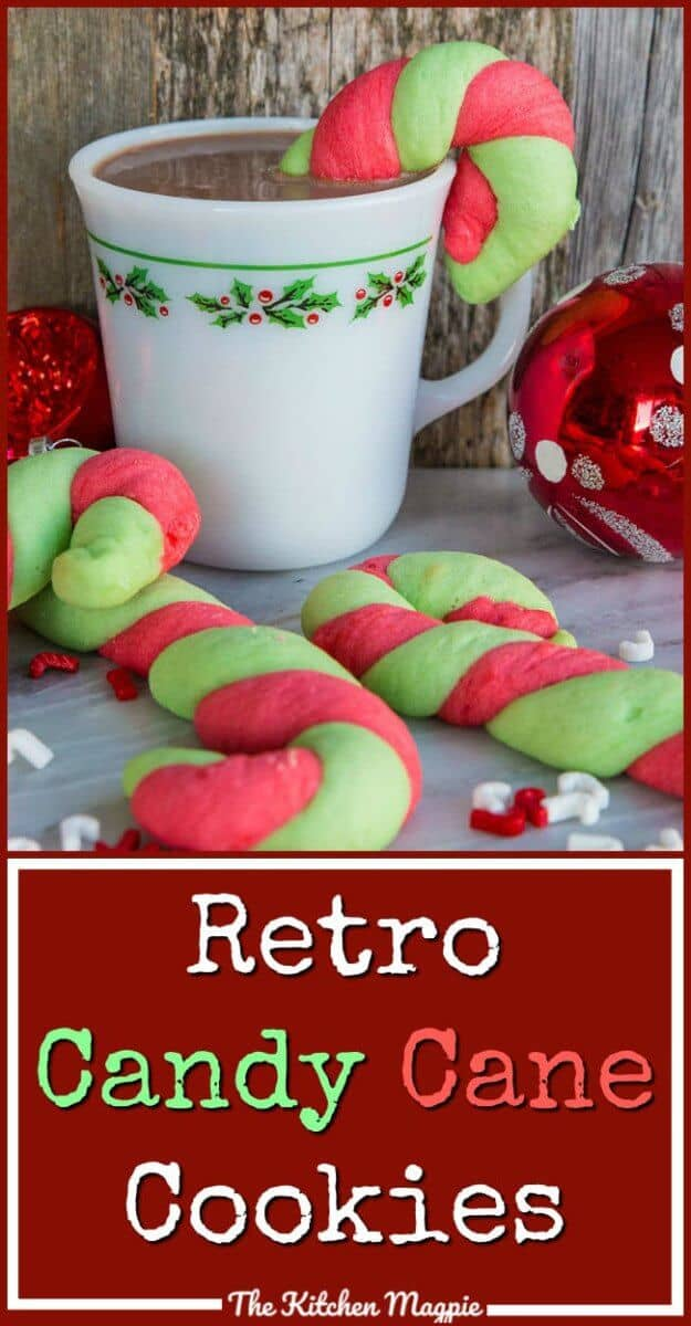 Classic Christmas Candy Cane Cookies in glorious red and green stripes! It's not Christmas in our house until we bake a batch!  #cookies #christmas #candycanes #christmascookie