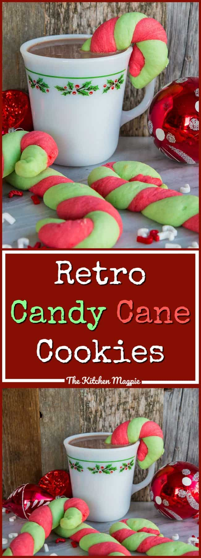 Classic Christmas Candy Cane Cookies in glorious red and green stripes! It's not Christmas in our house until we bake a batch!Recipe from @kitchenmagpie #cookies #christmas #candycanes #holidays #recipes #dessert #treats #christmascookie