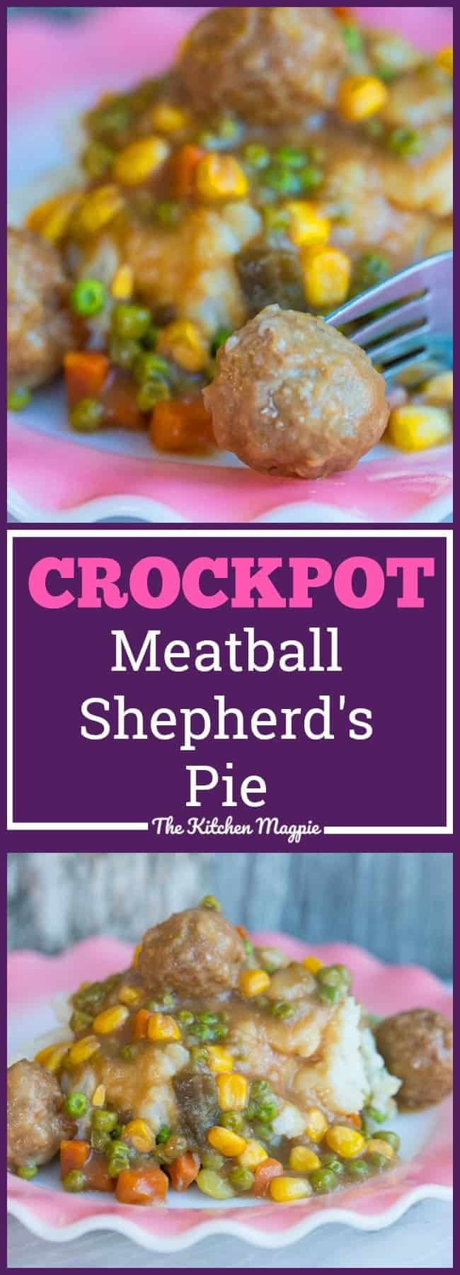 This Crockpot Meatball Shepherd's Pie is sure to become a new family favourite! It cooks all day and you come home to a delicious meal in your slow cooker! Recipe from @kitchenmagpie. #recipe #crockpot #slowcooker #meatballs #shepherdspie #dinner #supper