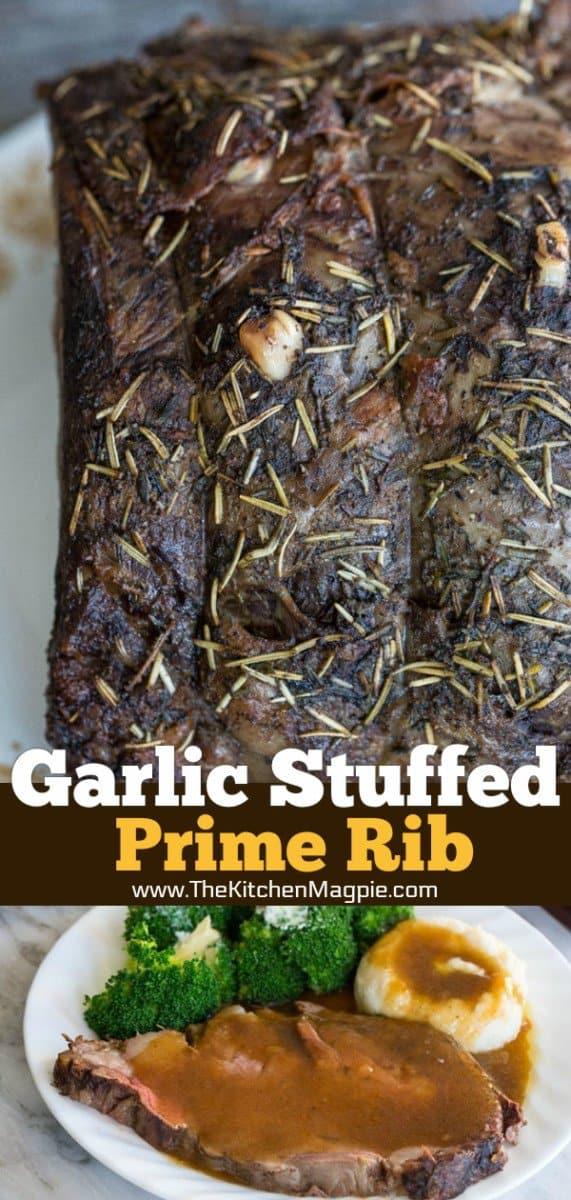 How to make an amazing Herb & Garlic Stuffed Prime Rib Roast! Recipe from @kitchenmagpie #roastbeef #primerib #howto #recipe #christmas Holidays #beef