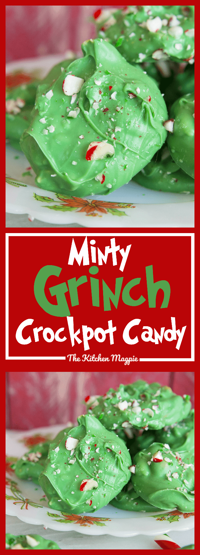 My new Minty Grinch Crockpot Candy is sure to be a family favourite for Christmas and it couldn't be easier to make! Simply put it in the crockpot and in an hour you have candy!