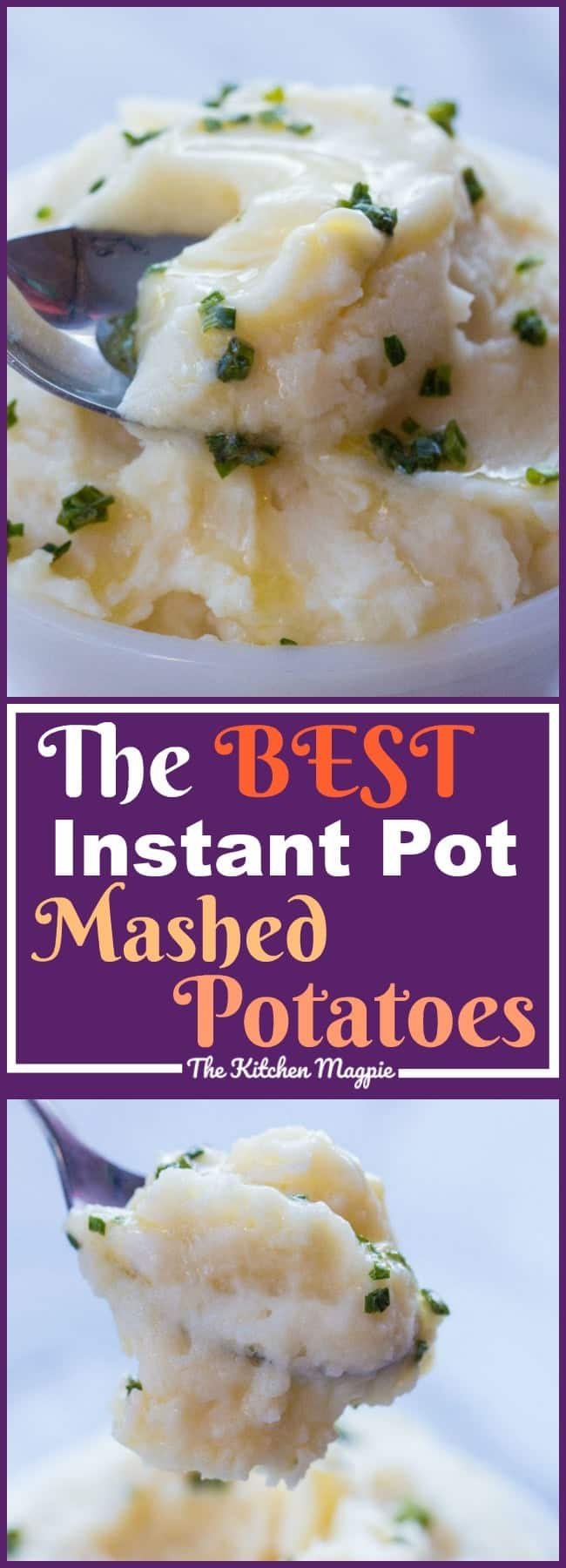 How to make the best Instant Pot Mashed Potatoes! Once you try these you will never make boiled mashed potatoes again! Recipe from @kitchenmagie #recipe #mashedpotatoes #christmas #instantpot #pressurecooker #potatoes #vegetables