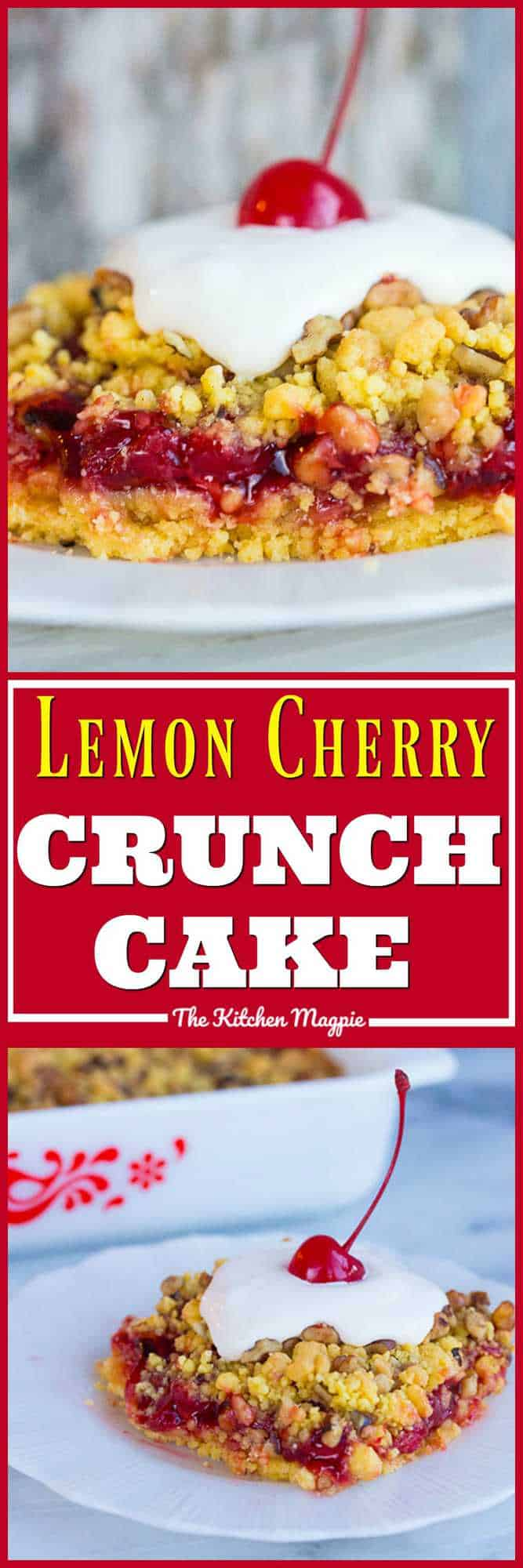 This 4 ingredient Lemon Cherry Crunch Cake is crazy easy and super delicious! Recipe from @kitchenmagpie #cake #baking #lemon #cherry #recipes #easy