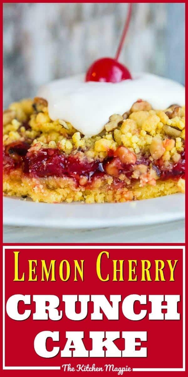 This 4 ingredient Lemon Cherry Crunch Cake is crazy easy and super delicious! Put this one on your regular baking list, it will be a new favourite! #baking #cakemix #recipe #recipes #sweets #dessert #cake #lemon #cherry