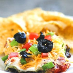close up of 7 Layer Bean Dip aka Mexican Dip