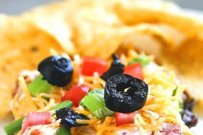 close up of 7 Layer Bean Dip aka Mexican Dip