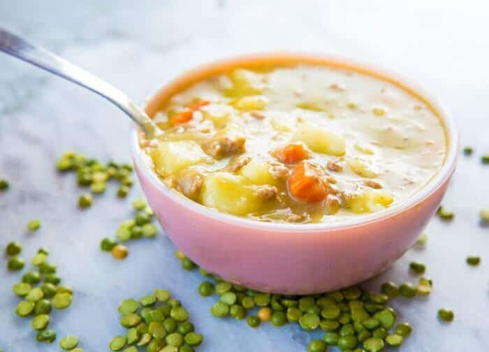 Split Pea Hamburger Soup