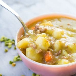 Close up of Creamy Split Pea Hamburger Soup in the slow cooker