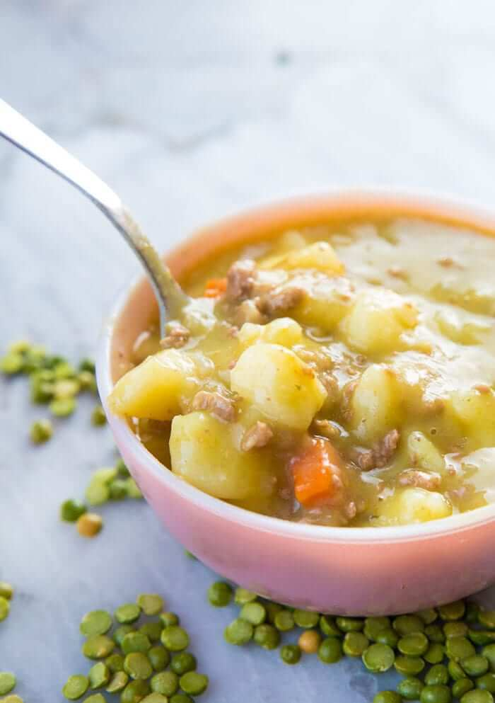 Creamy Split Pea Hamburger Soup in the slow cooker
