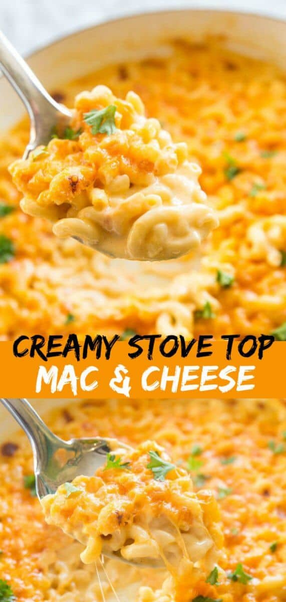 This Creamy Three Cheese Skillet Mac and Cheese is the most decadent mac and cheese I have ever eaten! #recipe #cheese #macandcheese