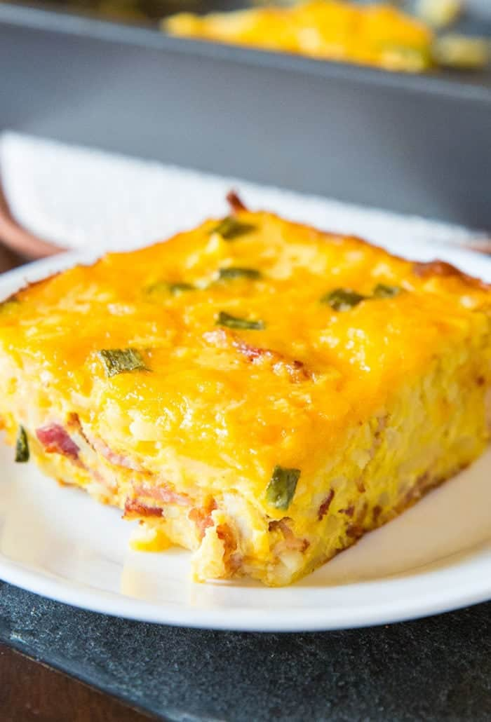 Double Cheese Overnight Breakfast Hashbrown Casserole! Make it the night before and bake it up for the family for breakfast!