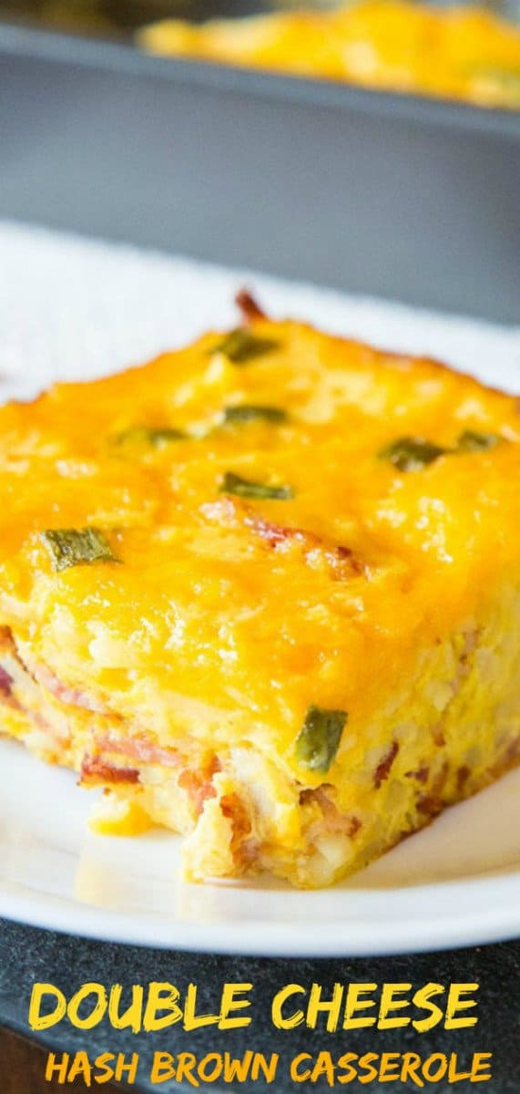 Double Cheese Overnight Breakfast Hash brown Casserole! Make it the night before and bake it up for the family for breakfast! #breakfast #recipe #hashbrown #casserole #makeahead